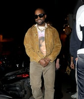 PARIS, FRANCE - MARCH 02: Kanye West is seen leaving a restaurant after his show on March 02, 2020 i...