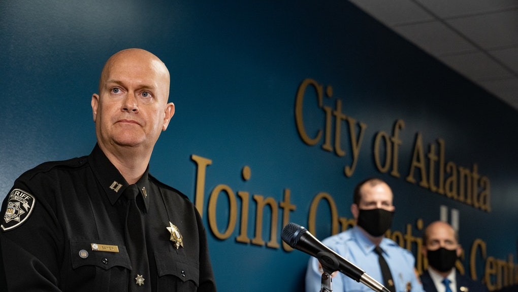 ATLANTA, GA - MARCH 17: Captain Jay Baker, of the Cherokee County Sheriff's Office, speaks at a press conference on March 17, 2021 in Atlanta, Georgia. Suspect Robert Aaron Long, 21, was arrested after a series of shootings at three Atlanta-area spas left eight people dead on Tuesday night, including six Asian women.(Photo by Megan Varner/Getty Images)
