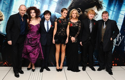 (Left to right) Ralph Fiennes, Helena Bonham Carter, Daniel Radcliffe, Emma Watson, J. K. Rowling, Rupert Grint and Timothy Spall arriving for the World Premiere of Harry Potter and The Deathly Hallows : Part One, at the Odeon West End, Leicester Square, London.   (Photo by Ian West/PA Images via Getty Images)