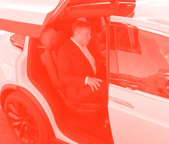 03 September 2020, Brandenburg, Grünheide: Elon Musk, Tesla boss, is sitting in a Tesla at the Tesla Gigafactory construction site. In Grünheide near Berlin, a maximum of 500,000 vehicles per year are to roll off the assembly line starting in July 2021. According to the car manufacturer's plans, the maximum should be reached as quickly as possible. Photo: Julian Stähle/dpa-Zentralbild/dpa (Photo by Julian Stähle/picture alliance via Getty Images)