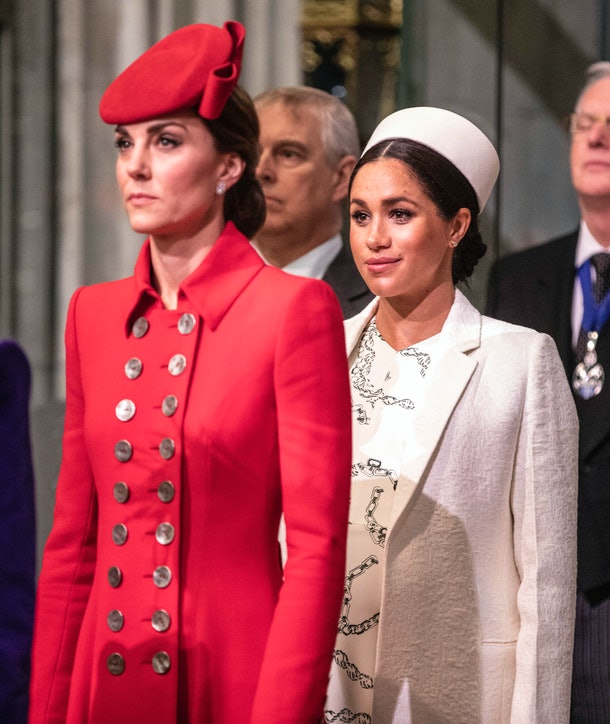 LONDON, ENGLAND - MARCH 11: Catherine, The Duchess of Cambridge stands with Meghan, Duchess of Sussex at Westminster Abbey for a Commonwealth day service on March 11, 2019 in London, England. Commonwealth Day has a special significance this year, as 2019 marks the 70th anniversary of the modern Commonwealth, with old ties and new links enabling cooperation towards social, political and economic development which is both inclusive and sustainable. The Commonwealth represents a global network of 53 countries and almost 2.4 billion people, a third of the worlds population, of whom 60 percent are under 30 years old. Each year the Commonwealth adopts a theme upon which the Service is based. This years theme A Connected Commonwealth speaks of the practical value and global engagement made possible as a result of cooperation between the culturally diverse and widely dispersed family of nations, who work together in friendship and goodwill. The Commonwealths governments, institutions and people connect at many levels, including through parliaments and universities. They work together to protect the natural environment and the ocean which connects many Commonwealth nations, shore to shore. Cooperation on trade encourages inclusive economic empowerment for all people - particularly women, youth and marginalised communities. The Commonwealths friendly sporting rivalry encourages people to participate in sport for development and peace. (Photo by Richard Pohle - WPA Pool/Getty Images)