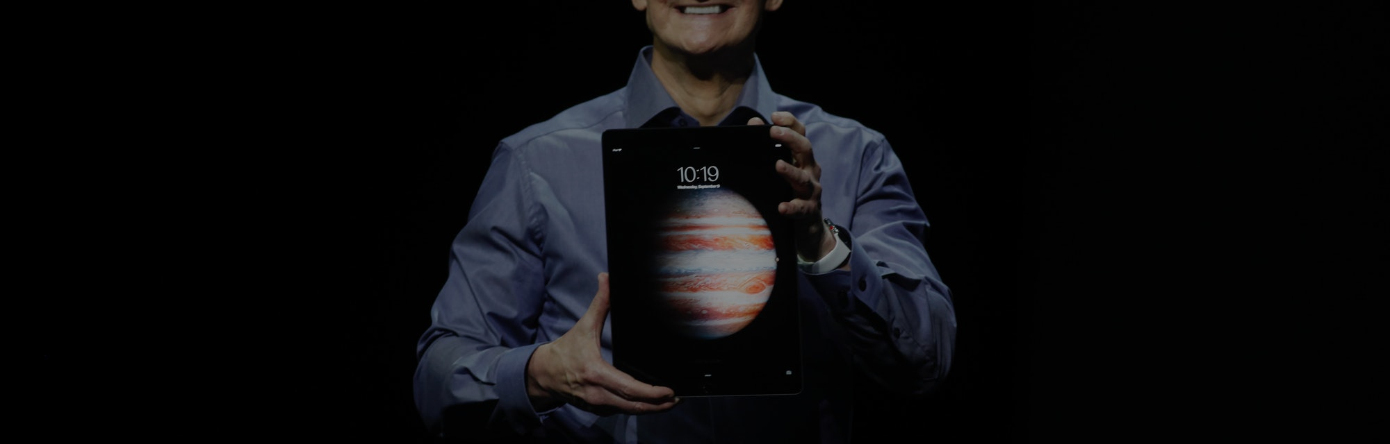 Apple's Tim Cook introduces the new IPad Pro during s media event at the Bill Graham Civic Auditorium Wednesday morning, Sept. 9, 2015, in San Francisco, Calif. (Karl Mondon/Bay Area News Group) (Photo by MediaNews Group/Bay Area News via Getty Images)