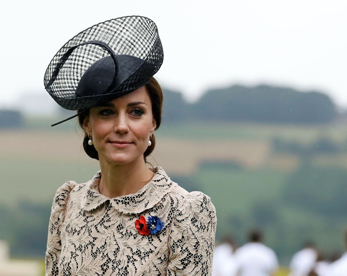 THIEPVAL, FRANCE - JULY 1:  Duchess of Cambridge attends the 100th anniversary of the beginning of the Battle of the Somme at the Thiepval memorial to the Missing on July 1, 2016 in Thiepval, France. The event is part of the Commemoration of the Centenary of the Battle of the Somme at the Commonwealth War Graves Commission Thiepval Memorial in Thiepval, France, where 70,000 British and Commonwealth soldiers with no known grave are commemorated. (Photo by Phil Noble - Pool/Getty Images)