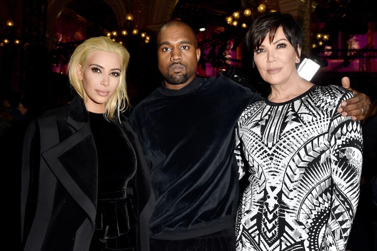 PARIS, FRANCE - MARCH 05:  Kim Kardashian, Kanye West and Kris Jenner attend the Balmain show as par...