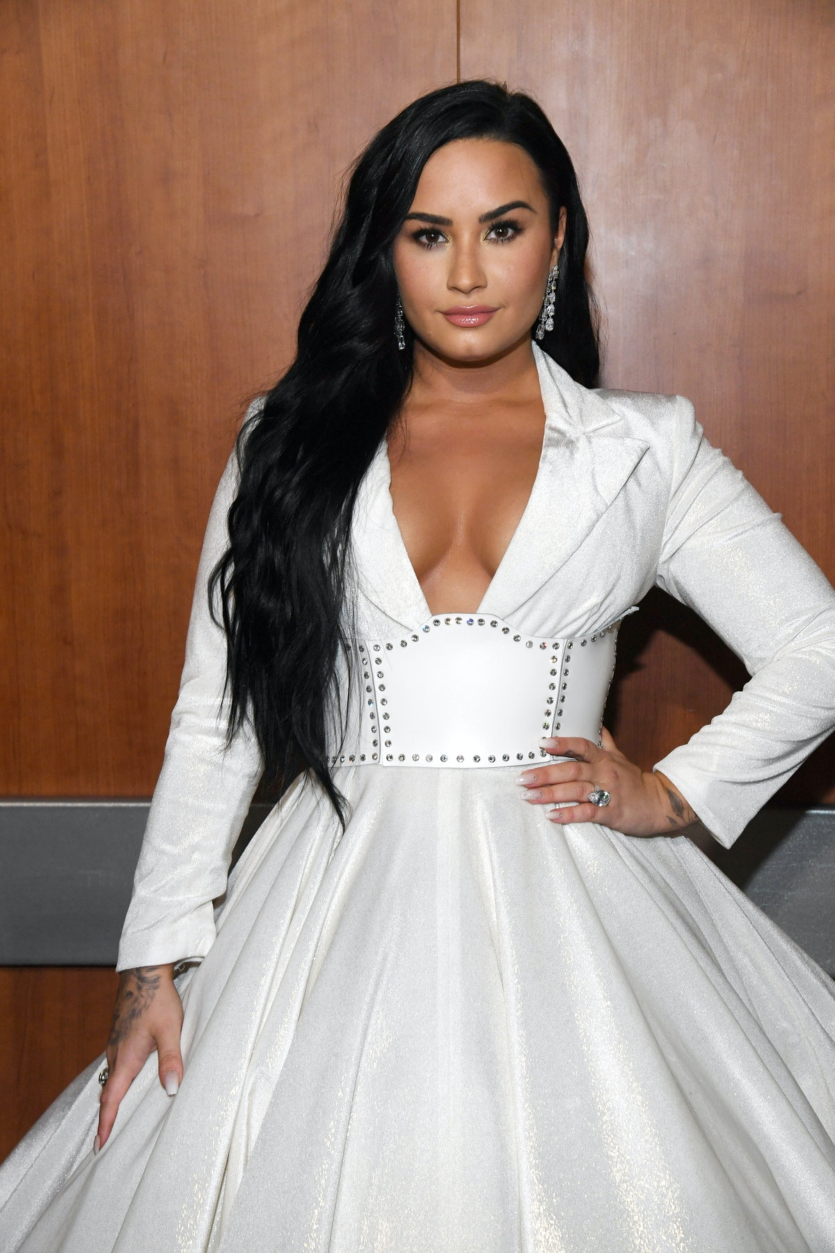 LOS ANGELES, CALIFORNIA - JANUARY 26: Demi Lovato attends the 62nd Annual GRAMMY Awards at STAPLES Center on January 26, 2020 in Los Angeles, California. (Photo by Kevin Mazur/Getty Images for The Recording Academy)