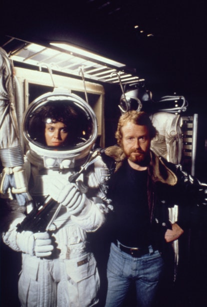 American actress Sigourney Weaver with director Ridley Scott on the set of his movie Alien. (Photo b...