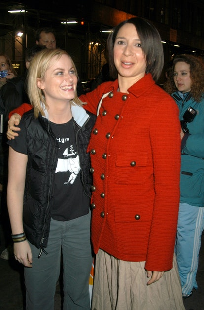 Amy Poehler 2 years later at an SNL afterparty with Maya Rudolph in 2001.