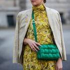 BERLIN, GERMANY - MARCH 15: Tina Haase is seen wearing yellow Baum & Pferdgarten dress with floral p...