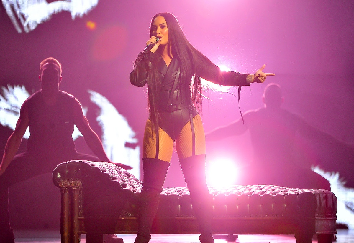 SAN JOSE, CA - FEBRUARY 28:  Singer Demi Lovato performs on the Tell Me You Love Me World Tour at SAP Center on February 28, 2018 in San Jose, California.  (Photo by Steve Jennings/Getty Images)