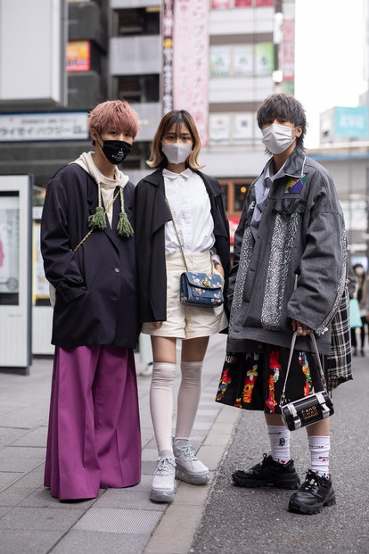 TOKYO, JAPAN - MARCH 20: Guests are seen on the street during the Rakuten Fashion Week Tokyo 2021 au...