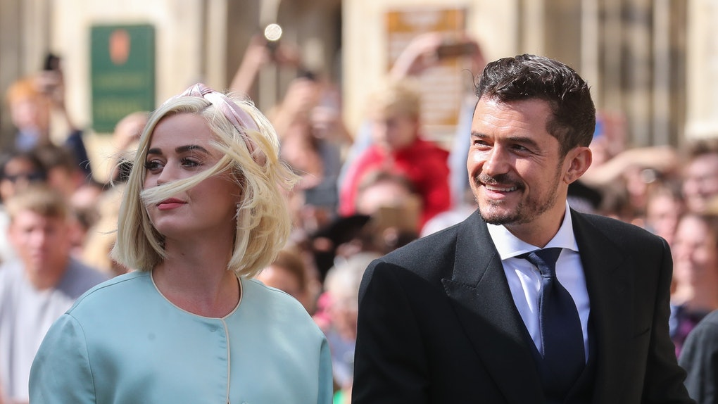 YORK, ENGLAND - AUGUST 31: Katy Perry and Orlando Bloom seen at the wedding of Ellie Goulding and Caspar Jopling at York Minster Cathedral on August 31, 2019 in York, England. (Photo by John Rainford/GC Images)