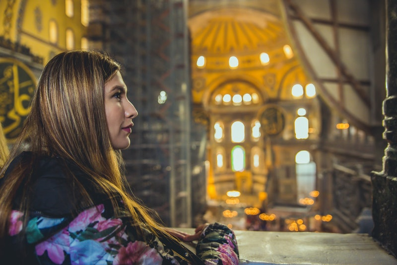 Young caucasian woman in Hagia Sophia
