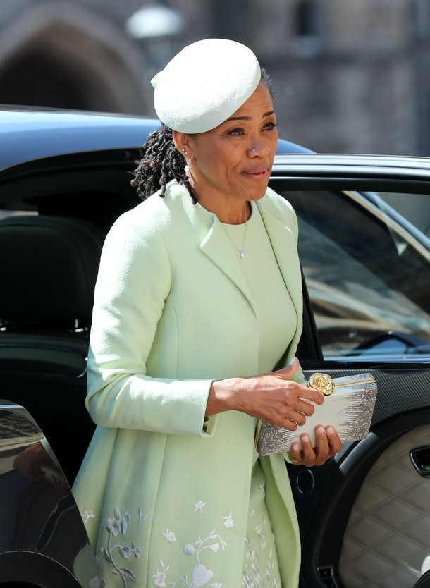 Doria Ragland arrives for the wedding ceremony of Britain's Prince Harry, Duke of Sussex and US actress Meghan Markle at St George's Chapel, Windsor Castle, in Windsor, on May 19, 2018. (Photo by Gareth Fuller / POOL / AFP)        (Photo credit should read GARETH FULLER/AFP via Getty Images)