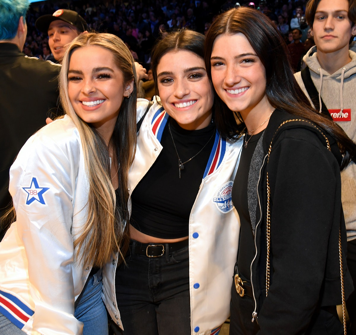 CHICAGO, ILLINOIS - FEBRUARY 15:  (L-R) Addison Rae, Dixie D'Amelio, and Charli D'Amelio attend the 2020 State Farm All-Star Saturday Night at United Center on February 15, 2020 in Chicago, Illinois. (Photo by Kevin Mazur/Getty Images)