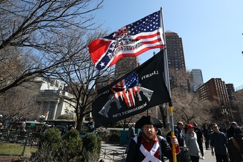 """NEW YORK, USA - MARCH 20: A large group of crowds gather at the Union Square as a """"Freedom Rally"""" to..."""