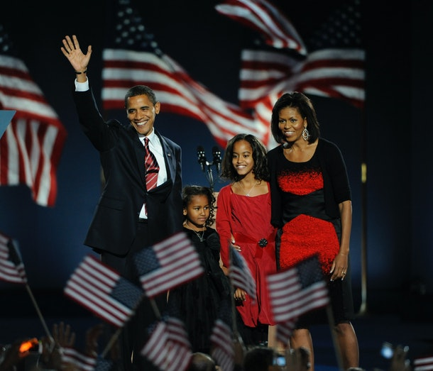 As the 44th President of the United States of America Barack Obama takes the stage, with his daughters Sasha and Malia and wife Michelle at his side, at Grant Park in Chicago, Illinois, on Tuesday, November 4, 2008.    (Photo by Nikki Kahn  The Washington Post via Getty Images)