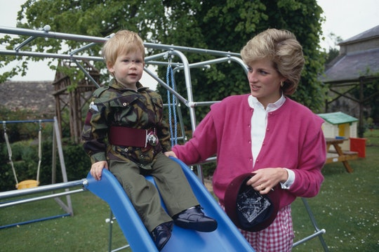 Prince Harry wearing the uniform of the Parachute Regiment of the British Army in the garden of Highgrove House in Gloucestershire, 18th July 1986. With him is his mother, Diana, Princess of Wales (1961 - 1997). (Photo by Tim Graham Photo Library via Getty Images)
