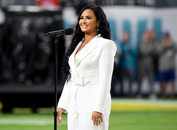 MIAMI GARDENS, FLORIDA - FEBRUARY 02: Demi Lovato performs the National Anthem onstage during Super Bowl LIV at Hard Rock Stadium on February 02, 2020 in Miami Gardens, Florida. (Photo by Jeff Kravitz/FilmMagic)