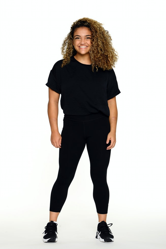LOS ANGELES, CALIFORNIA - OCTOBER 27: Gymnast Laurie Hernandez poses for a portrait on October 27, 2020 in Los Angeles, California. Hernandez competed as a member of the U.S. women's gymnastics team at the 2016 Summer Olympics, winning gold in the team event and silver on the balance beam. In 2016, Hernandez won season 23 of Dancing with the Stars. (Photo by Harry How/Getty Images)