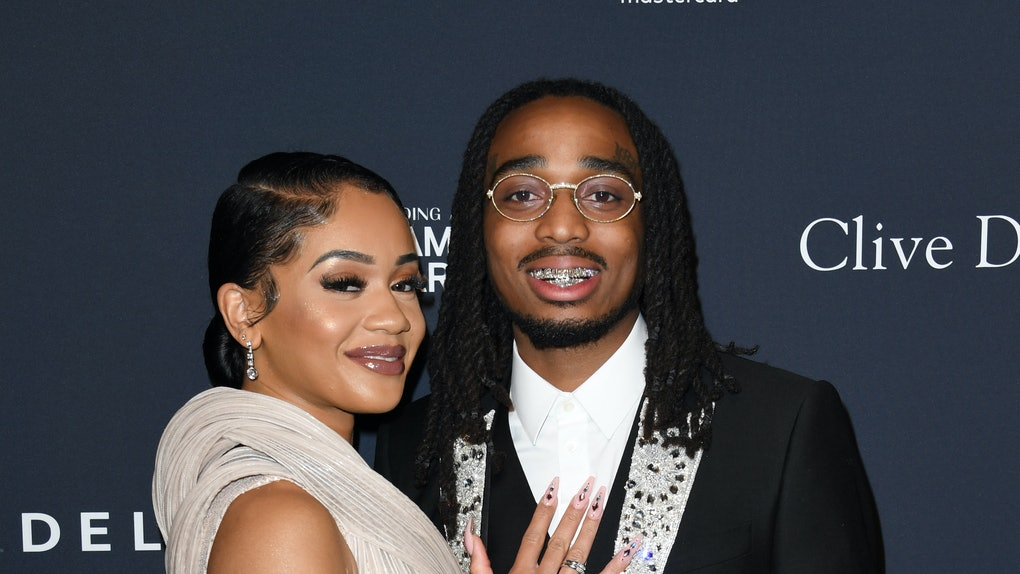 """BEVERLY HILLS, CALIFORNIA - JANUARY 25: (L-R) Saweetie and Quavo attend the Pre-GRAMMY Gala and GRAMMY Salute to Industry Icons Honoring Sean """"Diddy"""" Combs on January 25, 2020 in Beverly Hills, California. (Photo by Jon Kopaloff/Getty Images)"""