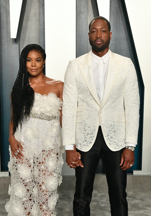 BEVERLY HILLS, CALIFORNIA - FEBRUARY 09: (L-R) Gabrielle Union and Dwyane Wade attend the 2020 Vanity Fair Oscar Party hosted by Radhika Jones at Wallis Annenberg Center for the Performing Arts on February 09, 2020 in Beverly Hills, California. (Photo by Frazer Harrison/Getty Images)