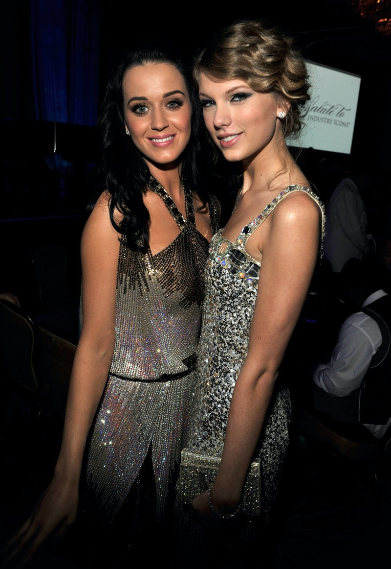 BEVERLY HILLS, CA - JANUARY 30:  Katy Perry and Taylor Swift at the 52nd Annual GRAMMY Awards - Salute To Icons Honoring Doug Morris held at The Beverly Hilton Hotel on January 30, 2010 in Beverly Hills, California.  (Photo by Kevin Mazur/WireImage)