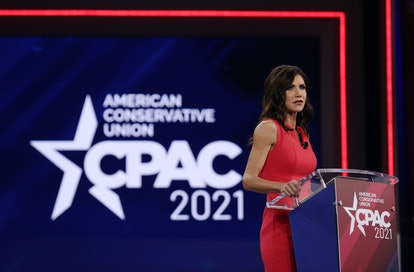 ORLANDO, FLORIDA - FEBRUARY 27: South Dakota Gov. Kristi Noem addresses the Conservative Political A...