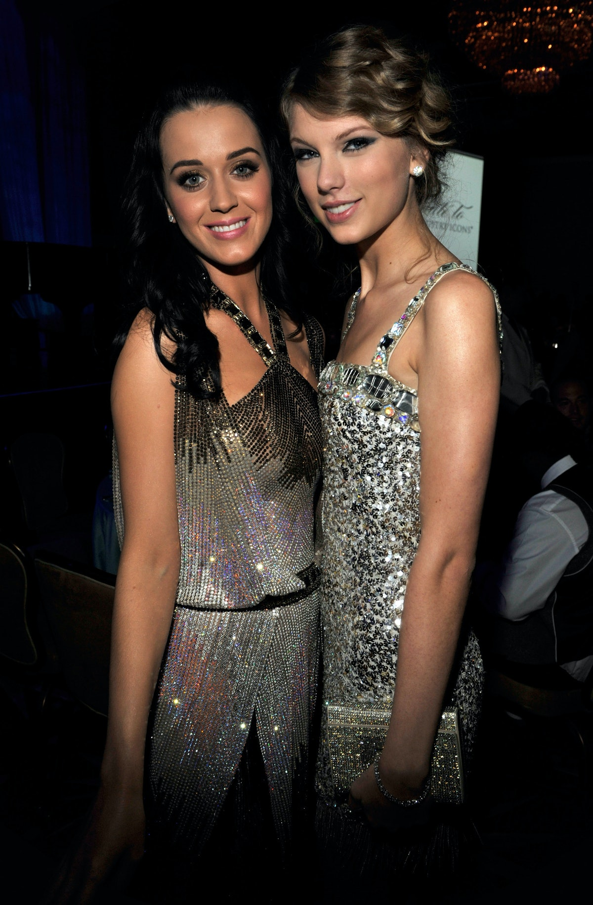 BEVERLY HILLS, CA - JANUARY 30:  Katy Perry and Taylor Swift at the 52nd Annual GRAMMY Awards - Salu...