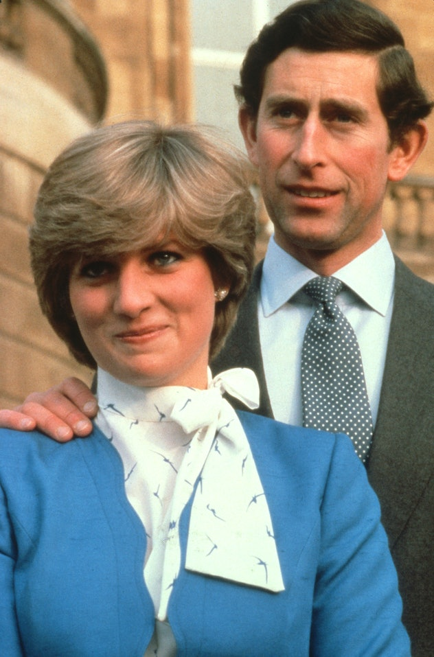 Diana Spencer looking happy to be engaged.