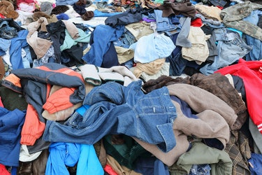 Amsterdam, Netherlands - March 2, 2015: Second hand clothes at the Waterlooplein market in Amsterdam