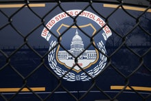 WASHINGTON, DC - FEBRUARY 19: The United States Capitol Police seal appears on the side of a bus par...