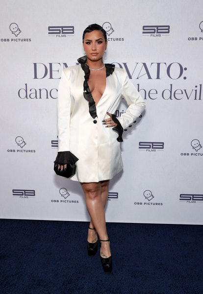 """BEVERLY HILLS, CALIFORNIA - MARCH 22: Demi Lovato attends the OBB Premiere Event for YouTube Originals Docuseries """"Demi Lovato: Dancing With The Devil"""" at The Beverly Hilton on March 22, 2021 in Beverly Hills, California. (Photo by Rich Fury/Getty Images for OBB Media)"""