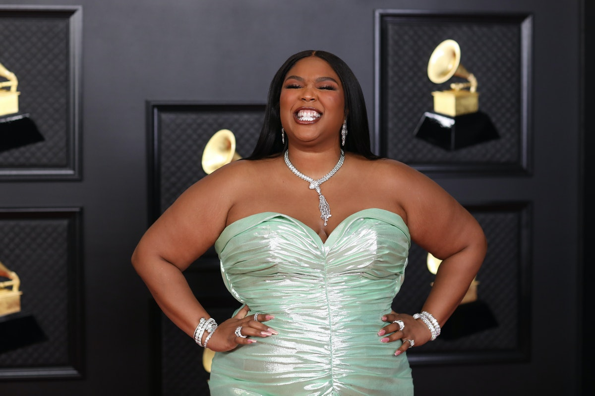 Los Angeles, CA - March 14:  Lizzo on the red carpet at the 63rd Annual Grammy Awards, at the Los Angeles Convention Center, in downtown Los Angeles, CA, Wednesday, Mar. 14, 2021. (Jay L. Clendenin / Los Angeles Times via Getty Images)