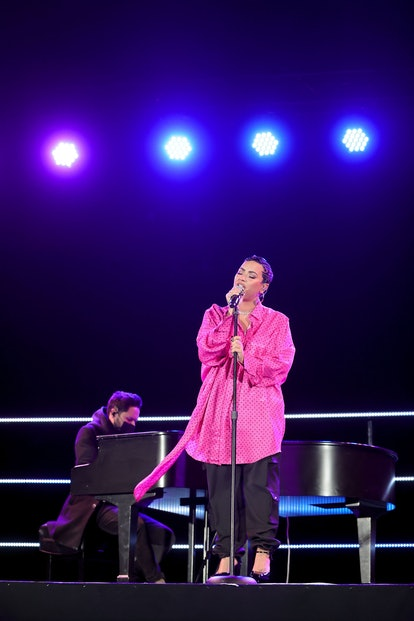 """BEVERLY HILLS, CALIFORNIA - MARCH 22: Demi Lovato performs onstage during the OBB Premiere Event for YouTube Originals Docuseries """"Demi Lovato: Dancing With The Devil"""" at The Beverly Hilton on March 22, 2021 in Beverly Hills, California. (Photo by Rich Fury/Getty Images for OBB Media)"""