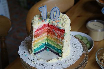 Rainbow birthday cake 10 years.
