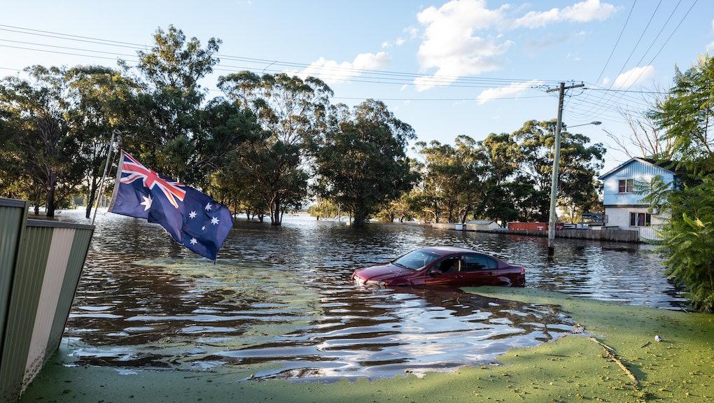 SYDNEY, AUSTRALIA - MARCH 24: A car is seen half submerged in the flood on March 24, 2021 in Sydney,...