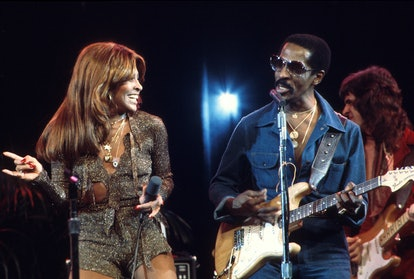 Ike and Tina Turner performing with the Ike And Tina Turner Revue on the American TV music show, 'Don Kirshner's Rock Concert', recorded in Los Angeles, California and aired on 12th March 1976. (Photo by Michael Ochs Archives/Getty Images)