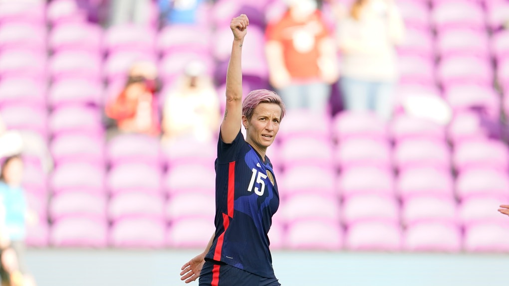 ORLANDO CITY, FL - FEBRUARY 21: Megan Rapinoe #15 of the U.S. scores a goal and celebrates during a game between Brazil and USWNT at Exploria Stadium on February 21, 2021 in Orlando City, Florida. (Photo by Brad Smith/ISI Photos/Getty Images)