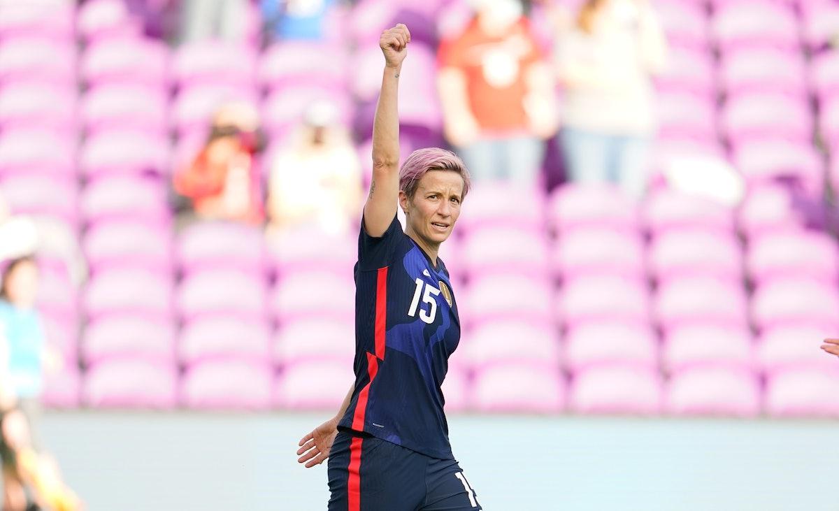 ORLANDO CITY, FL - FEBRUARY 21: Megan Rapinoe #15 of the U.S. scores a goal and celebrates during a ...