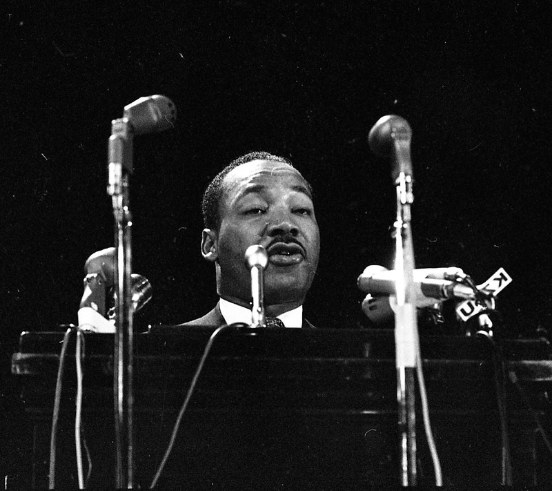 Reverend Martin Luther King at Stanford University April 14, 1967 (Photo by Jerry Telfer/San Francisco Chronicle via Getty Images)