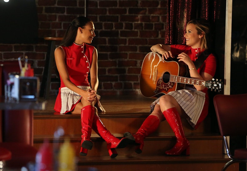 "GLEE: (L-R) Naya Rivera and and Demi Lovato in the ""Tina in The Sky With Diamonds"" episode of GLEE airing Thursday, Oct. 3, 2013 (9:00 -10:00 PM ET/PT) on FOX. (Photo by FOX Image Collection via Getty Images)"