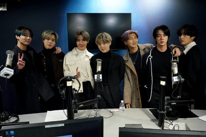 NEW YORK, NEW YORK - FEBRUARY 21: K-pop boy band BTS visit the SiriusXM Studios on February 21, 2020...