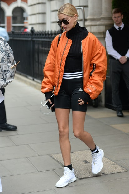 LONDON, ENGLAND - SEPTEMBER 15:  Hailey Baldwin is seen during London Fashion Week September 2017 on September 15, 2017 in London, England.  (Photo by SAV/GC Images)