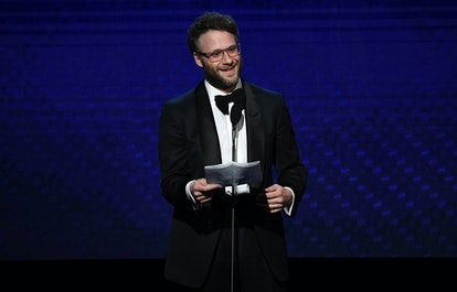 BEVERLY HILLS, CALIFORNIA - NOVEMBER 08: Seth Rogen speaks onstage during the 33rd American Cinematheque Award Presentation Honoring Charlize Theron at The Beverly Hilton Hotel on November 08, 2019 in Beverly Hills, California. (Photo by Frazer Harrison/Getty Images)