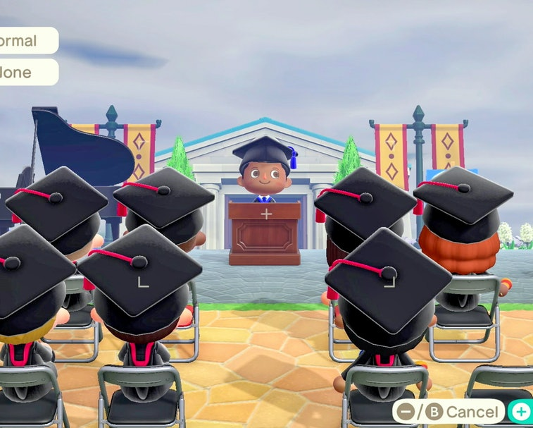 UNSPECIFIED - MAY 16: In this screengrab, Animal Crossing characters speak during Graduate Together:...