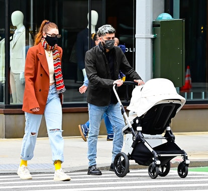 Gigi Hadid and Zayn Malik are seen walking in SoHo on March 25, 2021 in New York City.