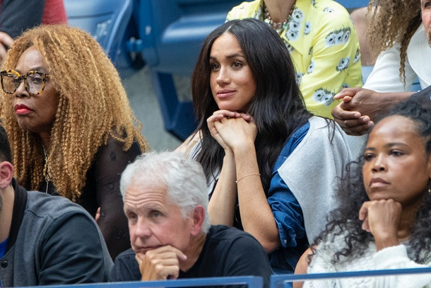 "2019 US Open Tennis Tournament- Day Thirteen.    Meghan Markle, Duchess of Sussex watching Serena Williams of the United States in action against Bianca Andreescu of Canada in her team box in the Women's Singles Final on Arthur Ashe Stadium during the 2019 US Open Tennis Tournament at the USTA Billie Jean King National Tennis Center on September 7th, 2019 in Flushing, Queens, New York City.  (Photo by Tim Clayton/Corbis via Getty Images)""n"