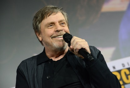 """SAN DIEGO, CALIFORNIA - JULY 19: Mark Hamill accepts the Icon award during the Netflix's """"The Dark Crystal: Age Of Resistance"""" Panel during 2019 Comic-Con International at San Diego Convention Center on July 19, 2019 in San Diego, California. (Photo by Albert L. Ortega/Getty Images)"""