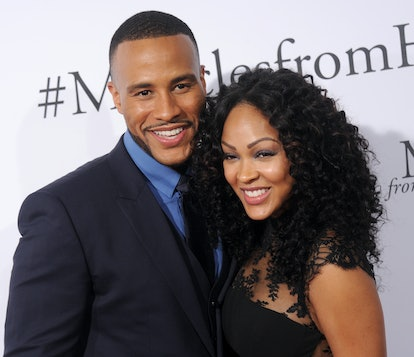 HOLLYWOOD, CA - MARCH 09:  Actress Meagan Good and DeVon Franklin arrive at the premiere of Columbia...