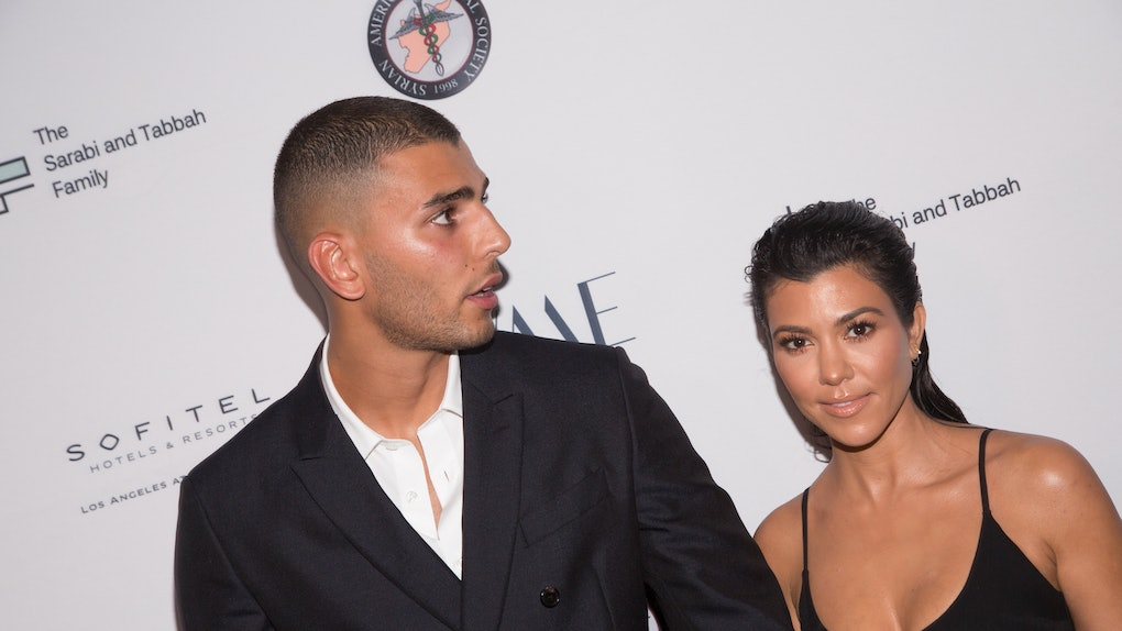 LOS ANGELES, CA - MAY 04:  Younes Bendjima (L) and Kourtney Kardashian arrive for The Syrian American Medical Society hosts the Voices in Displacement Gala at Riviera 31 at Sofitel on May 4, 2018 in Los Angeles, California.  (Photo by Gabriel Olsen/Getty Images)
